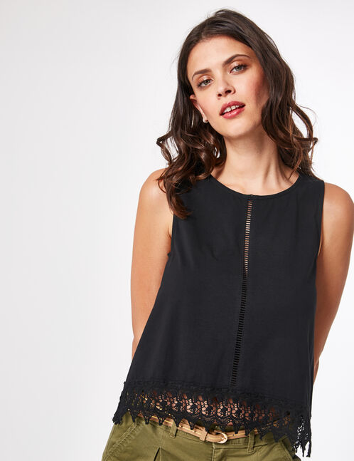 Black tank top with macramé detail