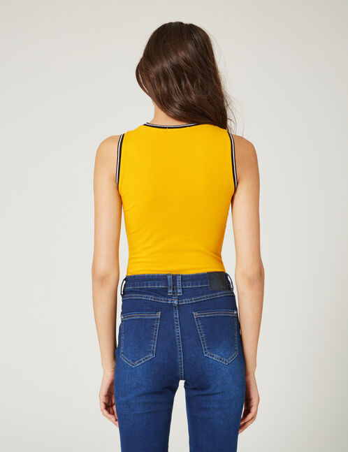 "Ochre ""howdy"" print bodysuit"