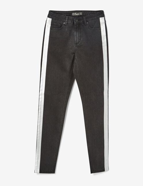 jean avec bandes argentées noir