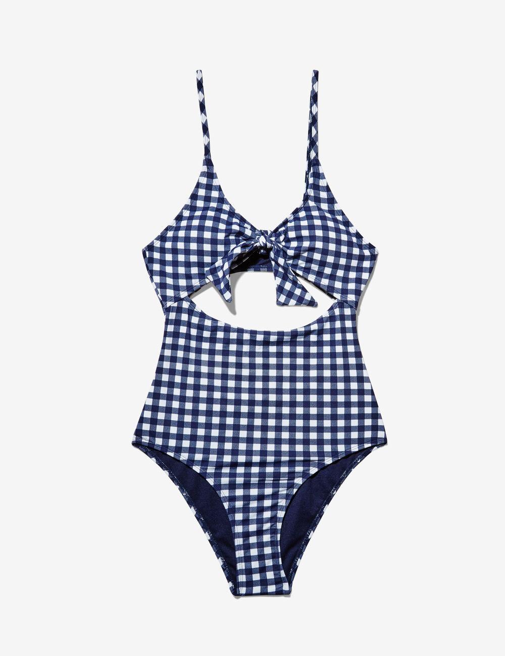 maillot de bain vichy bleu marine et cru femme jennyfer. Black Bedroom Furniture Sets. Home Design Ideas
