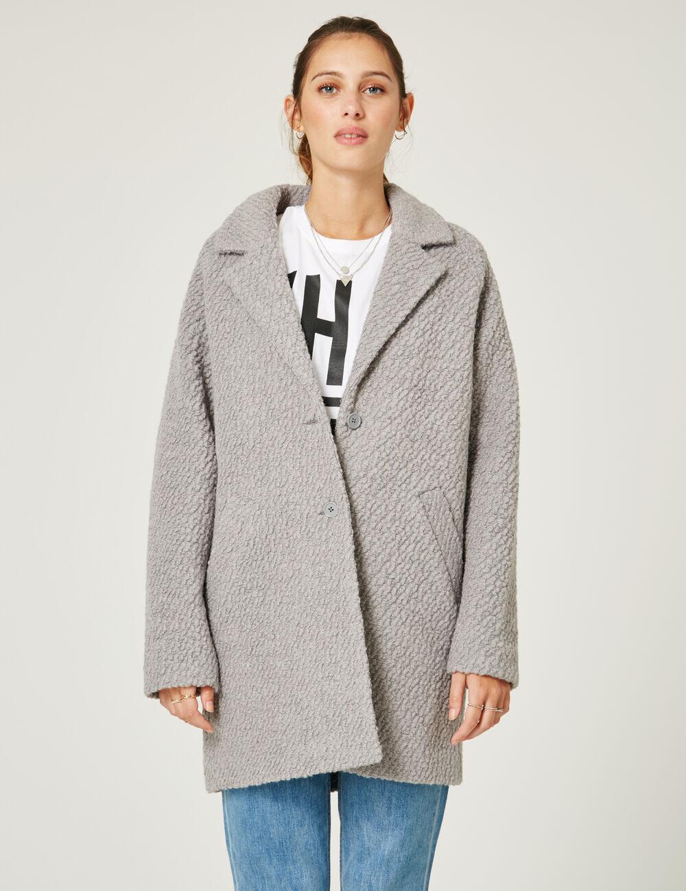 manteau en laine gris chin femme jennyfer. Black Bedroom Furniture Sets. Home Design Ideas