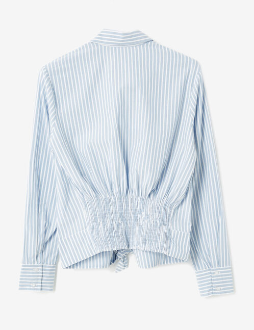 Light blue and cream striped shirt with smocked back