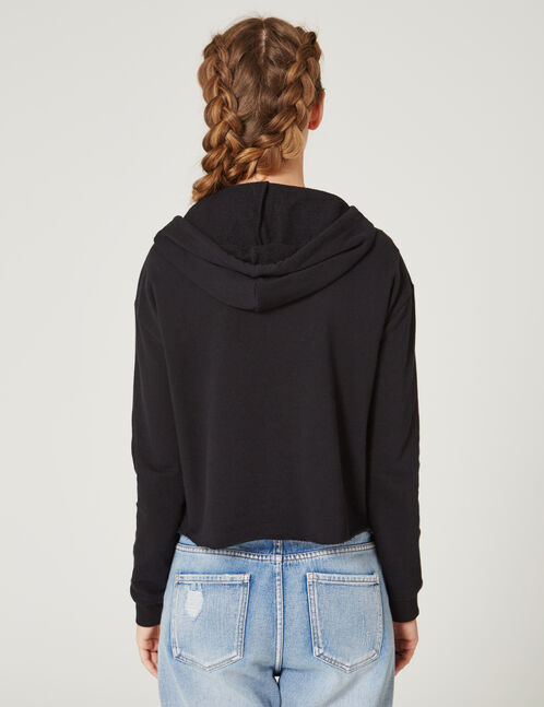 Black hoodie with front cut-out detail