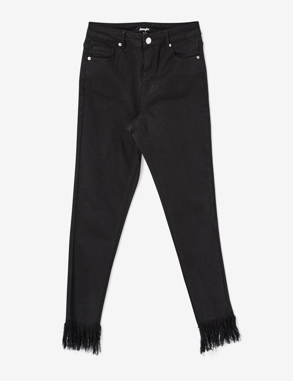 pantalon skinny avec franges noir femme jennyfer. Black Bedroom Furniture Sets. Home Design Ideas