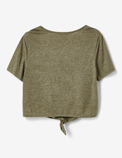 Khaki marl T-shirt with tie and button details