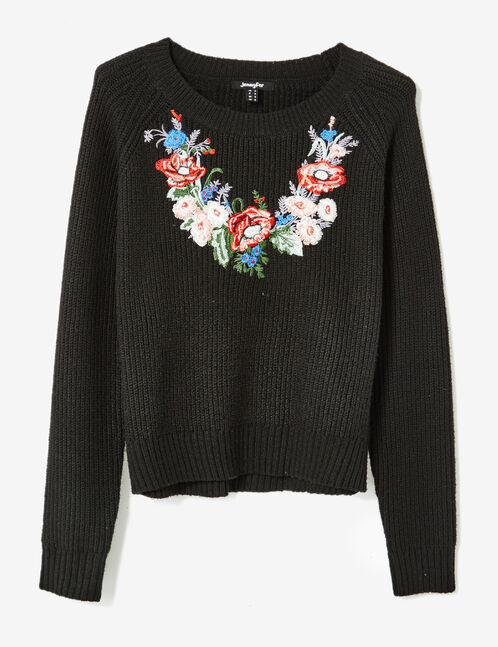 Black jumper with embroidered floral detail