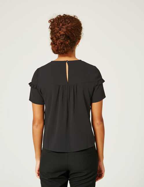 Black blouse with small frill detail