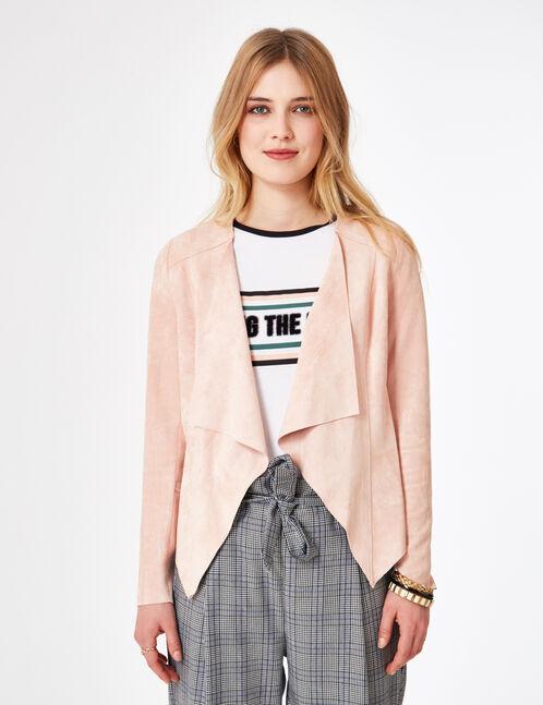 Light pink faux suede jacket