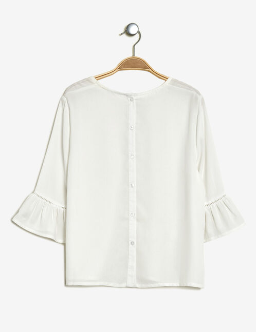 Cream blouse with openwork detail