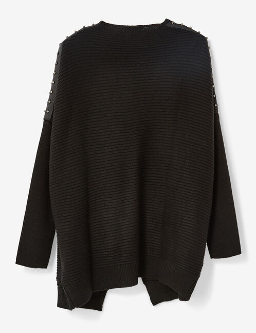 Black studded open cardigan