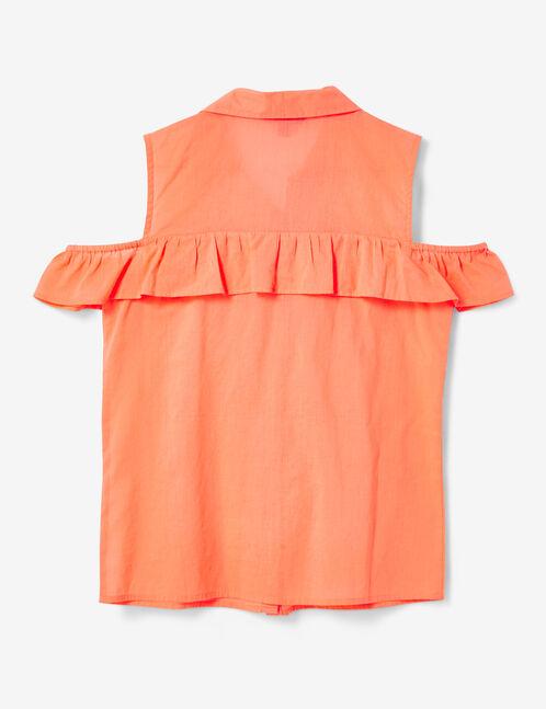 Coral cold shoulder blouse