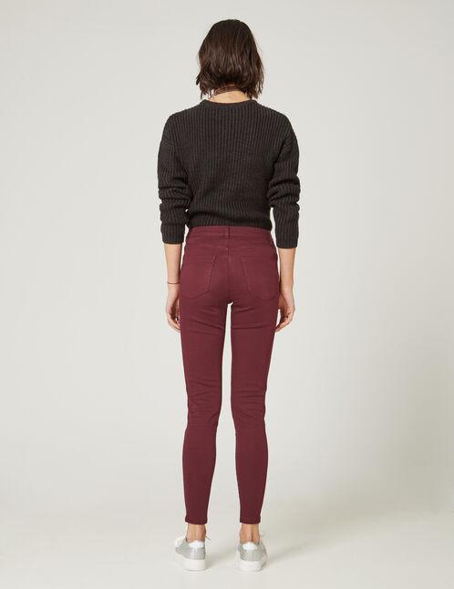 Plum high-waisted skinny trousers