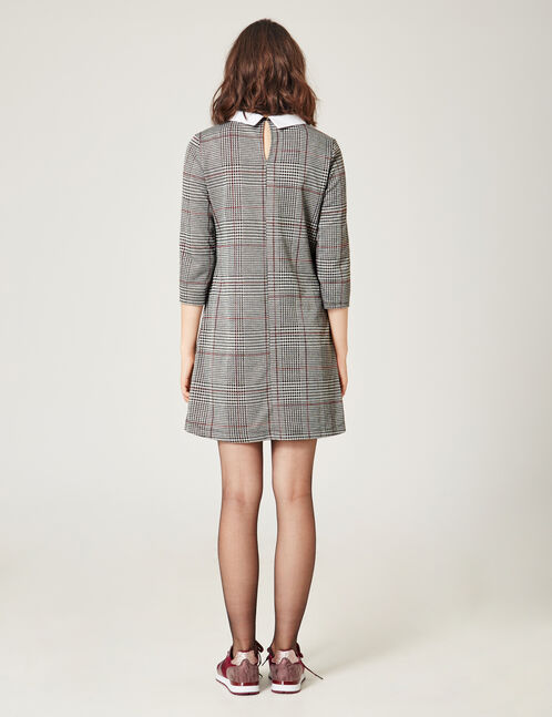 Beige, grey and burgundy dress with white collar detail