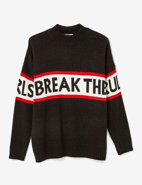 Black jumper with text design detail