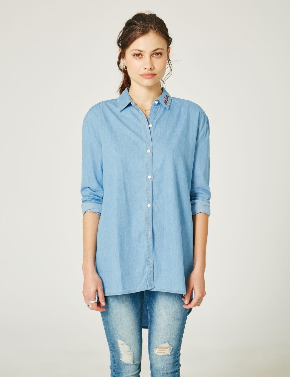 Chemise Jean Longue destiné chemise longue en jean bleu clair femme • jennyfer