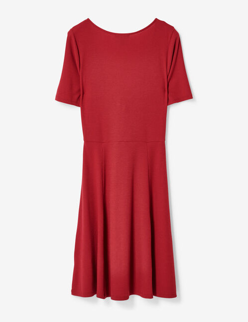 Burgundy deep-V dress with tie detail