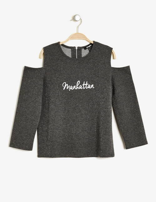 Charcoal grey marl sweatshirt with cut-out shoulders