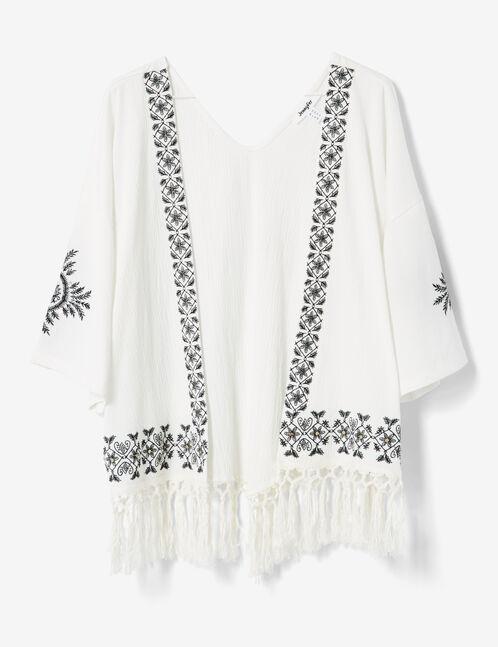 Cream kimono with embroidered detail