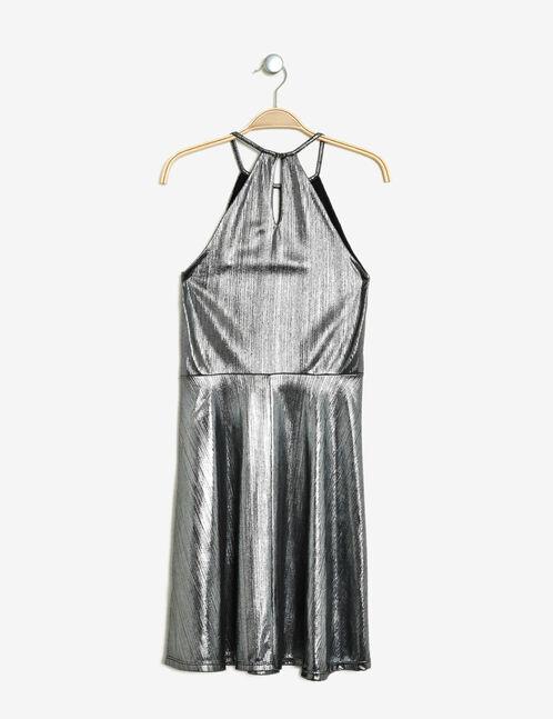 robe lamée évasée argentée