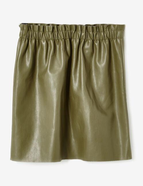 jupe simili avec fronces kaki