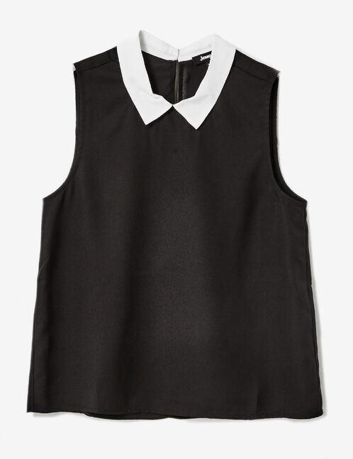 Black blouse with white collar detail