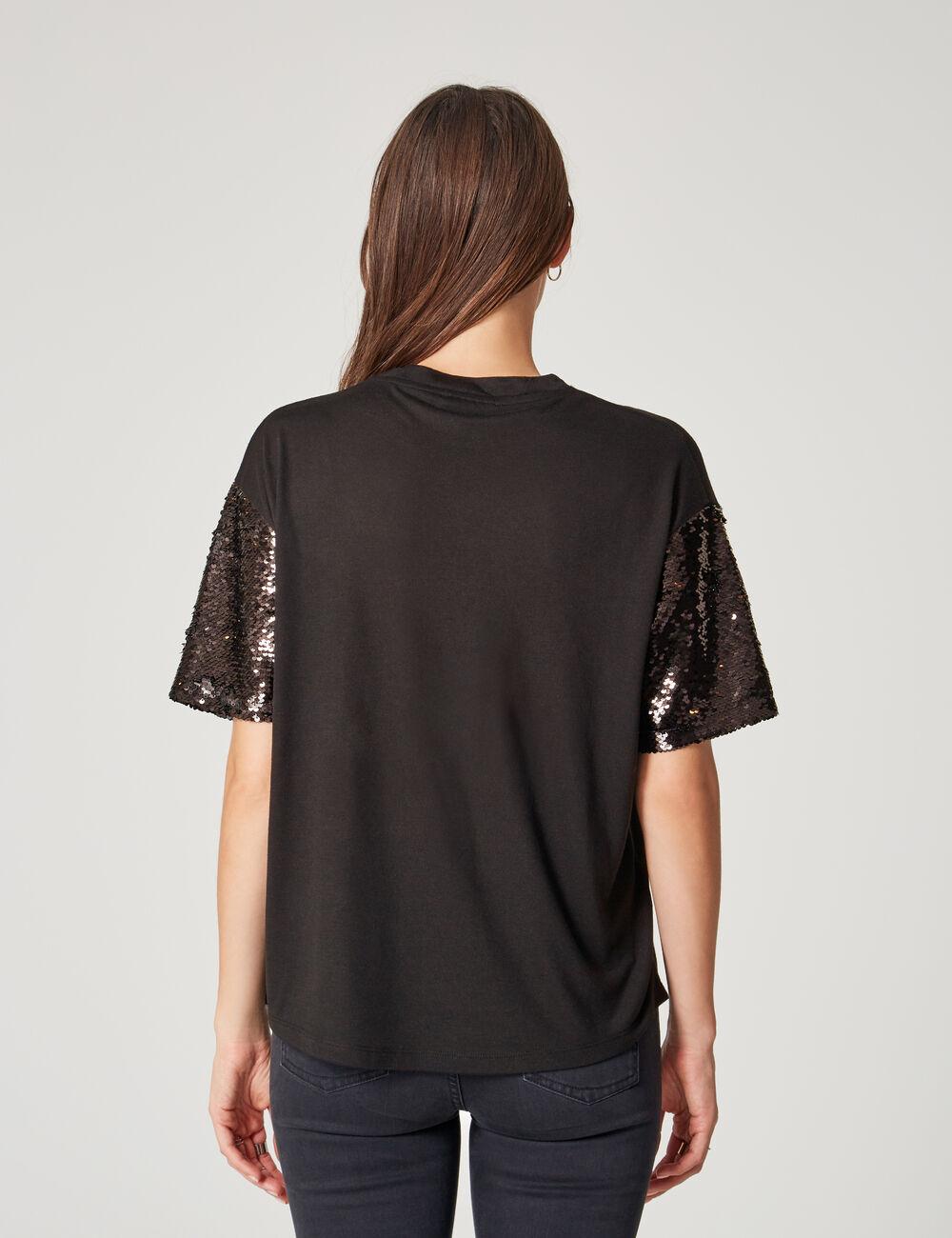 tee shirt manches sequins noir femme jennyfer. Black Bedroom Furniture Sets. Home Design Ideas