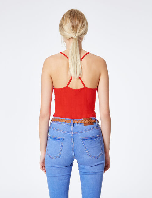 Red bodysuit with crossover strap back detail