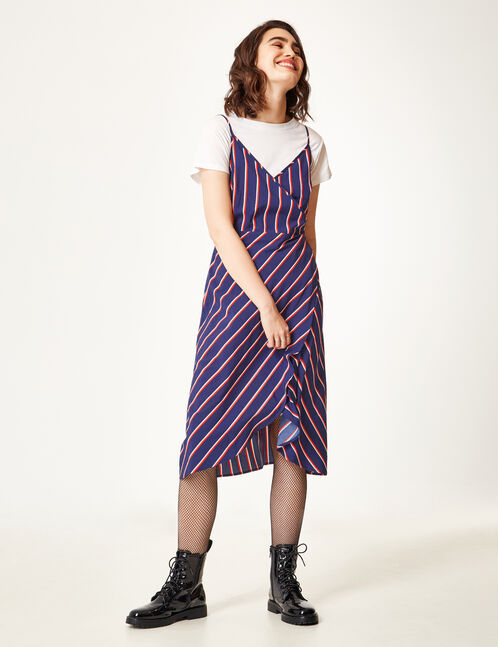 Navy blue, red and white striped wrap dress