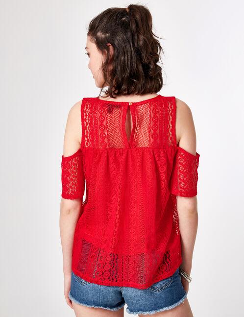 tee-shirt en dentelle rouge