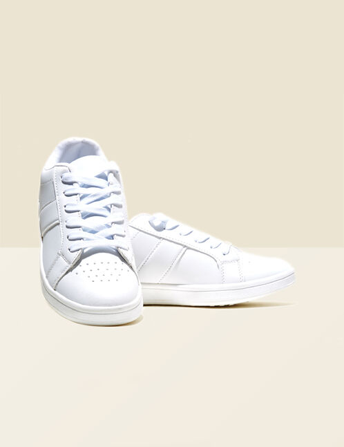 White trainers with mirror-effect detail