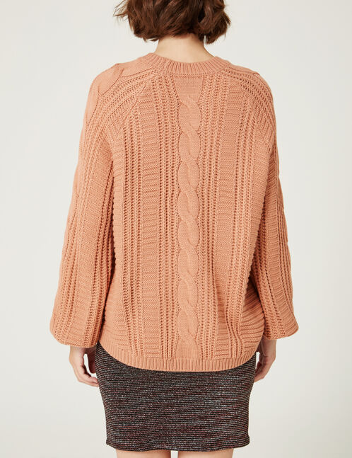 pull maille texturée  rose clair