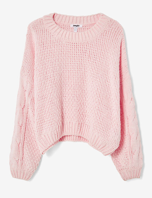 Light pink loose-fit chenille jumper