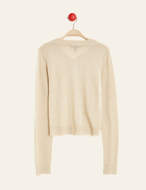 Beige and gold zipped cardigan with lurex detail