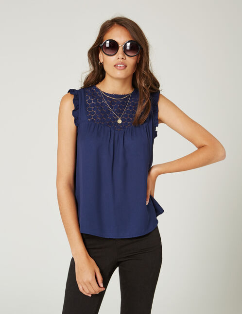 Navy blue blouse with lace detail