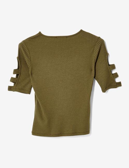 tee-shirt ouvertures manches kaki