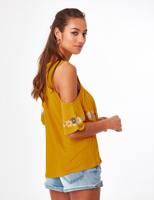 Ochre T-shirt with embroidery detail