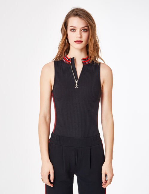 Black ribbed bodysuit with zip