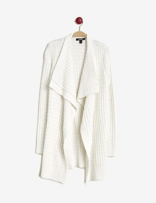 Cream long open cardigan