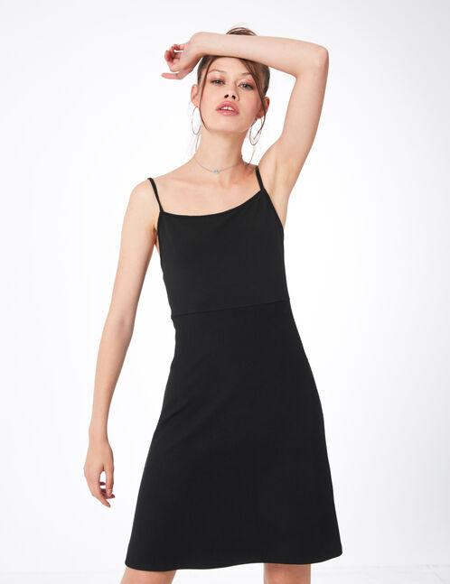 Black textured mini dress