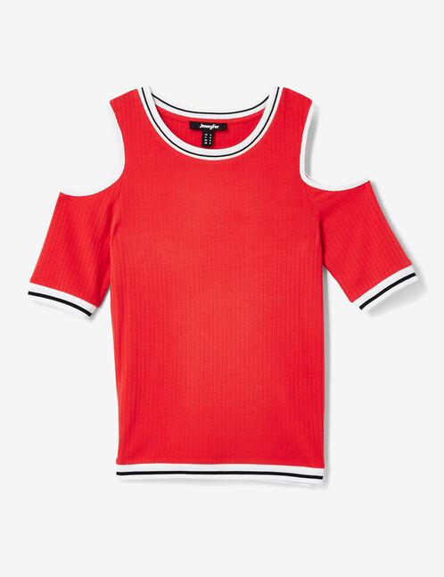tee-shirt épaules ajourées rouge