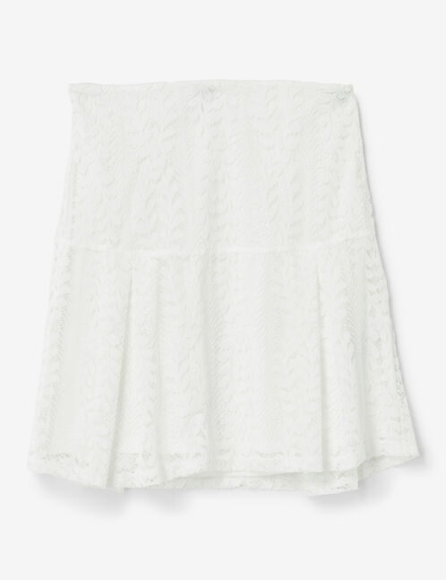 Cream flared lace skirt