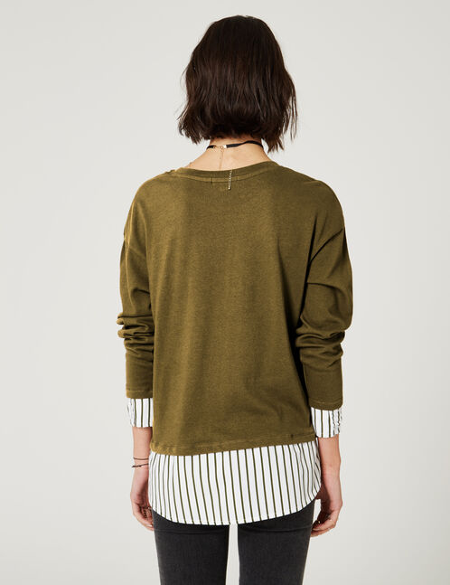 Khaki mixed fabric T-shirt