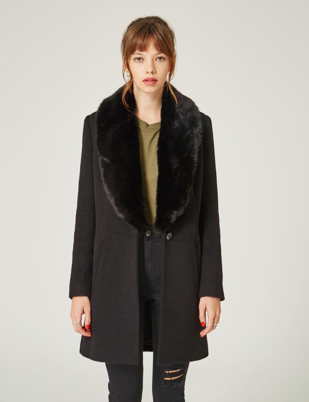 manteau col fausse fourrure noir femme jennyfer. Black Bedroom Furniture Sets. Home Design Ideas