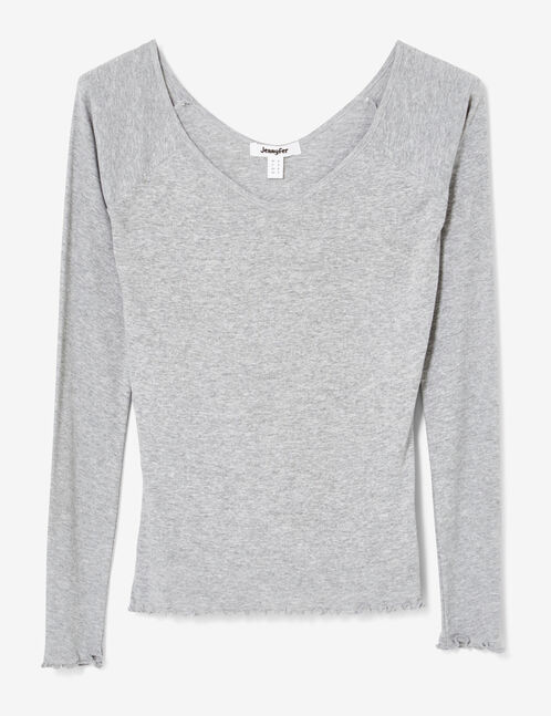 tee-shirt basic décolleté gris chiné