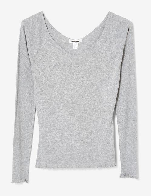Basic grey marl deep-neck top