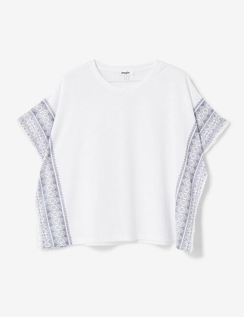 Cream and navy blue frieze print T-shirt