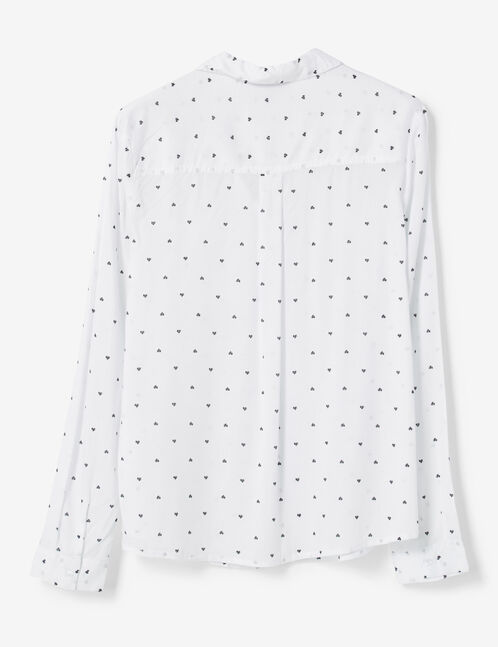 White heart print shirt