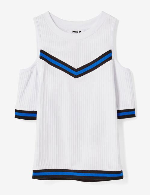tee-shirt épaules ajourées blanc