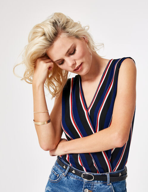 Navy blue, black, cream and red striped wrap bodysuit