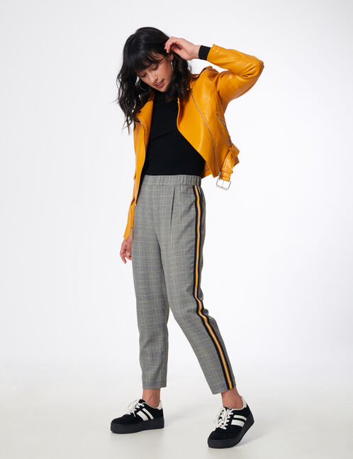 Grey and white tailored trousers with stripe detail